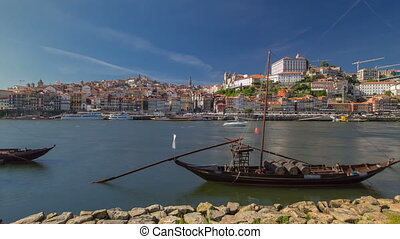 Porto, Portugal old town skyline on the Douro River with...