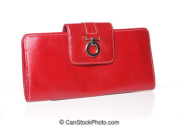 Red leather purse or clutch on white background with vector.