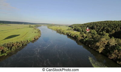 Aerial view of the river - Aerial View from Hot Air Balloon
