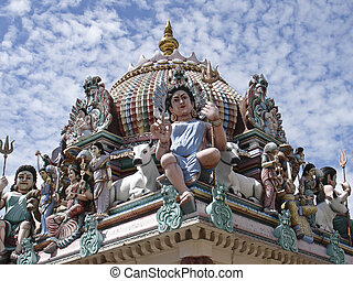 Sri Mariamman Hindu temple - Details of the decorations on...