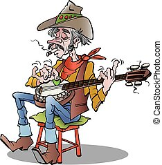 Country banjo player - Vector cartoon illustration of a...