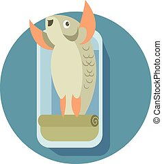 Canned cartoon fish - Vector image of a canned cartoon fish