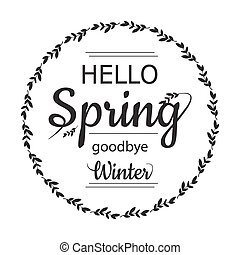 Hello Spring goodbye winter card design with elegant branch...