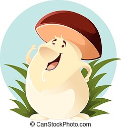 Cartoon happy Mushroom - Vector image of a happy cartoon...