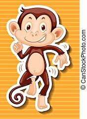 Monkey dancing on yellow background