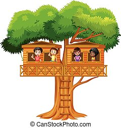 Children playing in the treehouse illustration