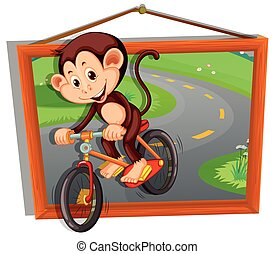 Monkey riding bicycle on the road