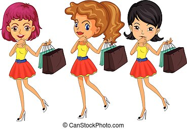 Three women with shopping bags