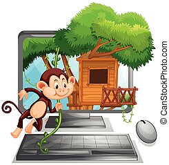 Computer screen with monkey playing at treehouse...