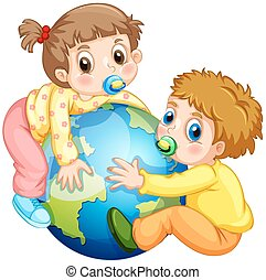 Toddlers boy and girl hugging the earth illustration