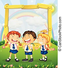 Children in school uniform standing on the park illustration
