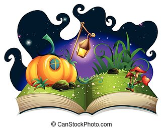 Storybook with pumpkin house at night illustration