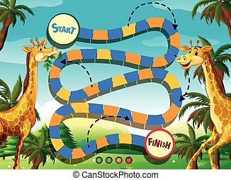 Game template with giraffe in the jungle background