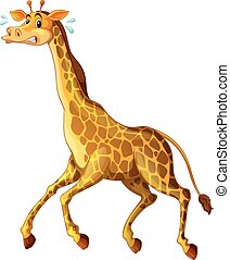 Giraffe running away from something illustration