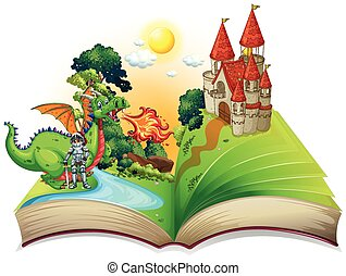 Book of knight and dragon illustration
