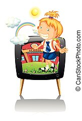 Little girl in school uniform illustration
