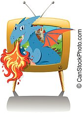 Dragon blowing fire on TV illustration
