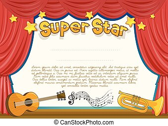 Certificate with musical instrument on stage illustration
