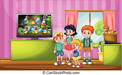 Children watching tv in the room illustration