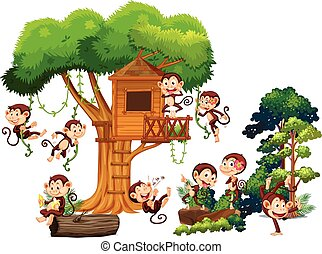 Monkeys playing and climbing up the treehouse illustration
