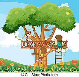 Children climbing up the tree in the garden