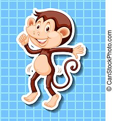 Little monkey dancing on blue background