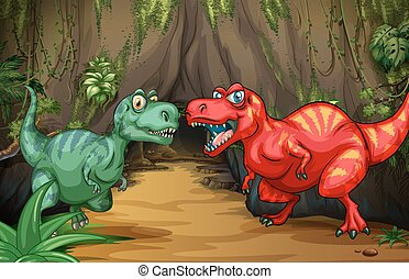 Two dinosaurs by the cave illustration