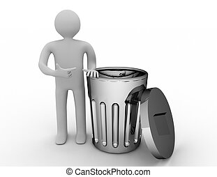3d small person standing next to a trash can.