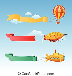 Retro Aircraft with Long Banners for Text on a Background of Sky