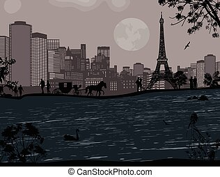 Eiffel Tower and Seine river - Beautiful sunset over Eiffel...