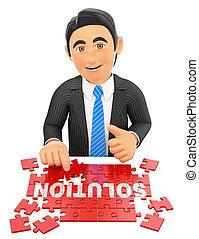 3D Businessman solving a puzzle. Solution concept - 3d...