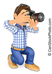 3D Photographer kneeling with his SLR camera