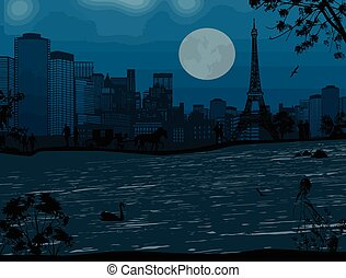 Eiffel Tower and Seine river - Beautiful blue night over...