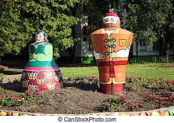two old style russian dolls