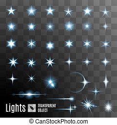 Set of stars shining - Set of glowing light effect stars...