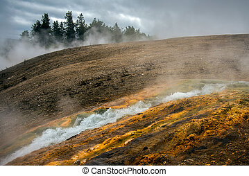 Outflow from Excelsior Geyser Crater