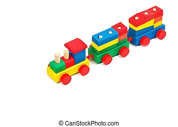 brinquedo, coloridos, madeira, isolado, trem, fundo, branca