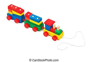 brinquedo, coloridos, madeira, isolado, corda, trem, fundo, branca