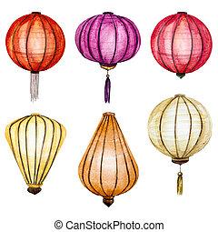 Raster watercolor chinese lanterns - Beautiful raster image...
