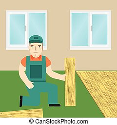 Worker laying laminate. Vector.
