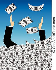 Overflowing Wealth - Hands of Businessman Stick Out of a...