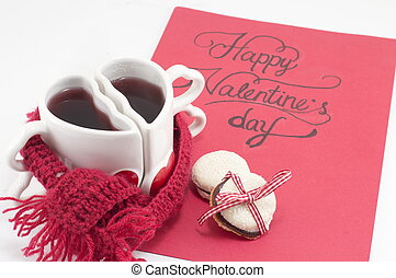 Valentine's day card with tea and cookies