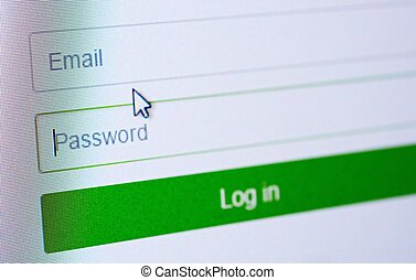 Login form on web site - Password and email blank forms and...