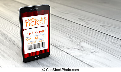 smartphone with cinema e-ticket over white wooden background...