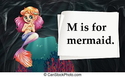 Letter M is for mermaid illustration