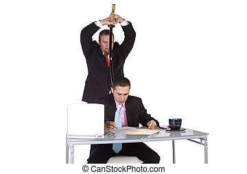Businessmen Backstabbing Concept - Businessmen at Office -...