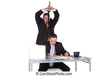 Businessmen Backstabbing Concept - Businessmen at Office -...