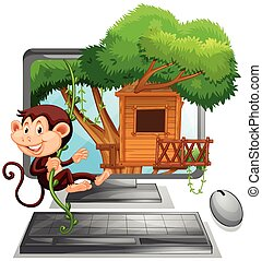 Monkey climbing up the treehouse on computer screen...