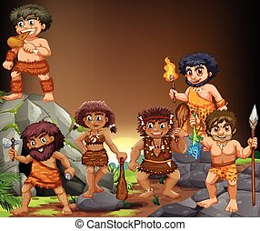 Cave people living in the cave