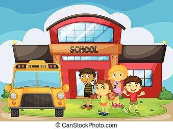 Children standing in the school campus illustration